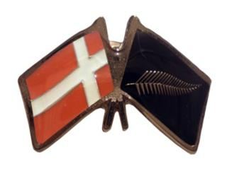 Denmark friendship flag pin - Silver Fern