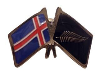 Iceland friendship flag pins - Silver Fern