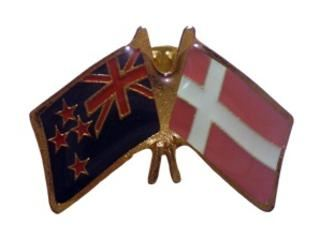 Denmark friendship flag pin - NZ flag