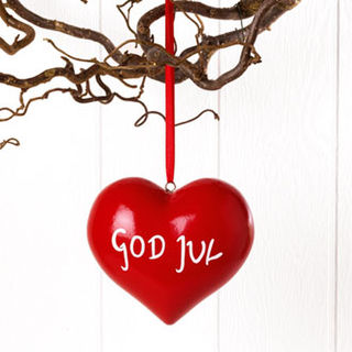 Wooden Heart - Large - God Jul - red