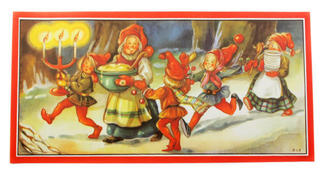 Christmas print - mother santa delivering porridge