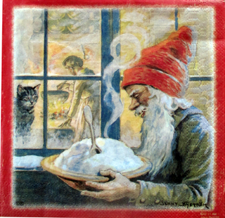 Christmas Serviettes - Santa & porridge by Jenny Nystrom, red frame