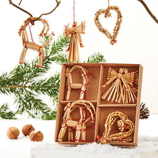 Straw Xmas Tree Decorations - Goat, Heart, Angel