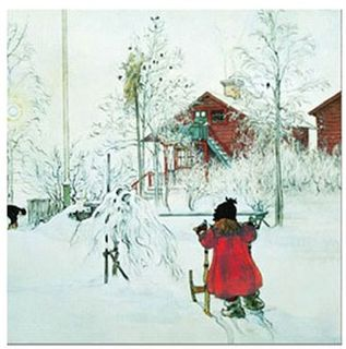 Christmas Serviettes - Carl Larsson - The Yard And Wash House