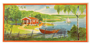 Scandinavian Summer Print - House by the lake
