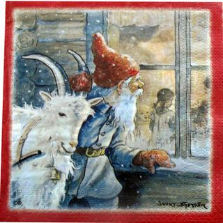 Christmas Serviettes - Santa and goat by Jenny Nystrom, red frame