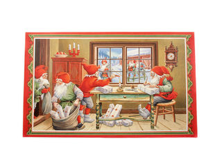 Christmas print - santas wrapping parcels