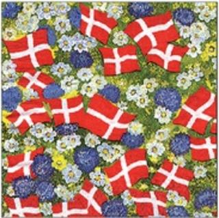 Floral Flag Serviettes - danish -Small flags