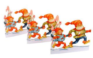 Fold Out Paper Row - Dancing Santas