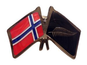 Norway friendship flag pins - Silver Fern