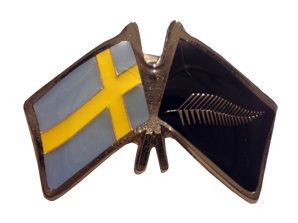 Sweden friendship flag pins - Silver Fern