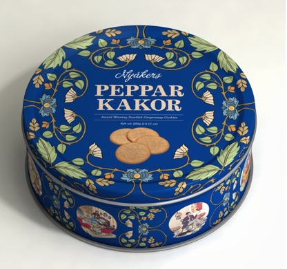 Nyåkers Ginger Snaps - Gift Tin - Blue - Short Date Sale 01/2019