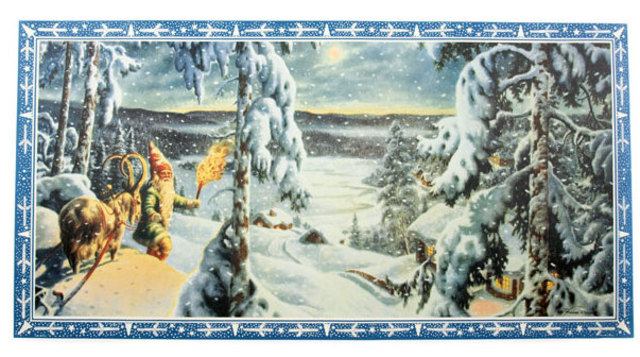 Christmas print - snow falling on santa & his goat