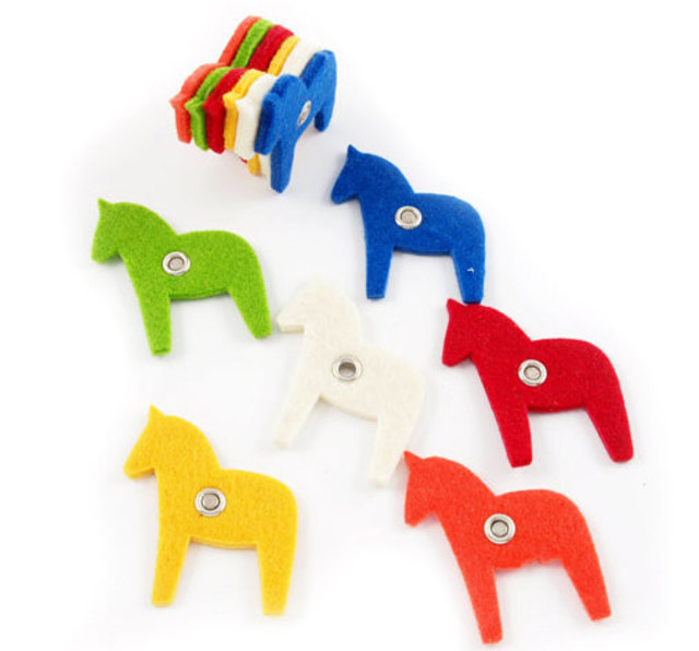 Felt magnets, dalahorse, 6p