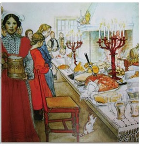 Christmas Serviettes - Carl Larsson - Christmas Eve