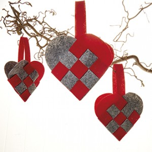 Felt braided Hearts - 3 pack