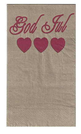 Christmas Serviette - God Jul hearts