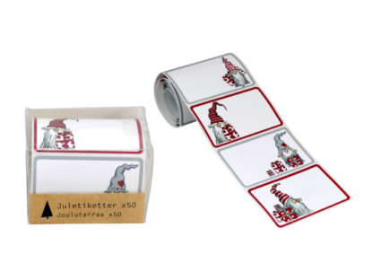 Roll of gift stickers with Scandinavian Santas