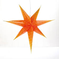 Orange advent paper star - small 40CM