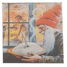 Christmas Serviettes - Santa & porridge by Jenny Nystrom, no frame