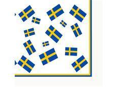 Swedish Flags Serviette - flags on white background with border