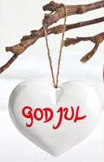 Wooden Heart - God Jul - white