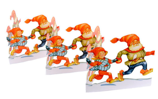Fold Out Paper Row - Dancing Santas
